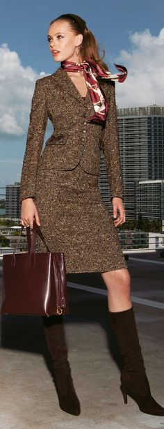 love her look Re: Vogue pattern I have similar to this would look great in that orange tweed fabric that I have.
