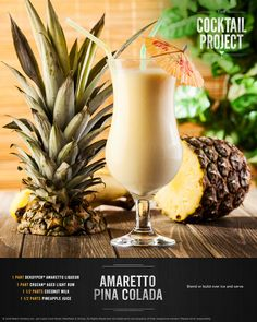 Amaretto Pina Colada - creamy, sweet and oh-so delicious, this cocktail takes Cruzan® Aged Light Rum, combines it with the flavors of Amaretto and coconut milk, and tops it off with fresh pineapple juice for a taste of the tropics : thecocktailproject Summer Cocktails, Cocktail Drinks, Cocktail Recipes, Cocktail Glass, Licor Baileys, Dinner And A Movie, Alcohol Drink Recipes, Pool Bar, Non Alcoholic Drinks
