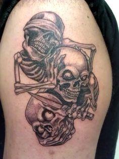 Skulls that See, Hear and Speak No Evil Tattoo