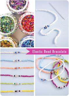 "rainbowsandunicornscrafts:    DIY Easy Elastic Beaded Bracelets Tutorial from Craft and Creativity. I made these as a child - so easy and they take so little supplies. I've also given ""kits"" with beads as birthday/holiday presents in a cheap tackle box with:  beads (I'd include alphabet beads, and for little kids I'd put in big wooden beads)  elastic and blunt needles (shoelaces for little kids)  embroidery floss and directions for friendship bracelets  name on the box with puffy paint, na"