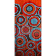 Retro Circles is a 90 x 200cm beaded door curtain featuring a funky graphic print in retro style, patterned in repeating circles of vibrantly coloured orange, sky blue, red and brown.