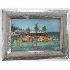 """Peinture sous-verre """"Pirogues au Port"""""""