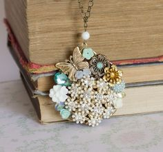 Teal and White Dreams Vintage Collage Necklace