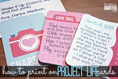 How to Print on Project Life Cards - Becoming Martha