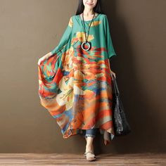 Women Printing Floral Casual Loose Green Dress