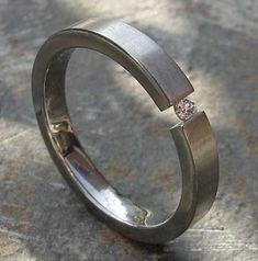 Narrow Tension Set Titanium Engagement Ring | UK!