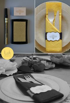 Personalized Napkin Rings - I can make these then we can get different colored napkins instead of personalized napkins