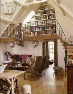 Perfect cabin idea for a staircase up to a loft space