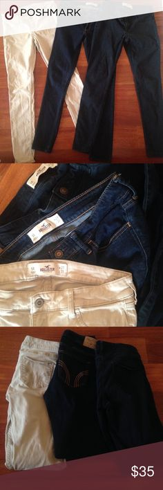 5R Hollister Jeans Bundle 27W 31L Perfect condition skinny jeans! The first one is a very light cream/tan/khaki color. The second pair of jeans is a regular dark wash skinny jean. The third pair is navy blue colored, NOT black. The colored jeans (khaki and navy blue) are a nice material. They aren't regular denim. TAKING OFFERS 😉 Hollister Jeans Skinny