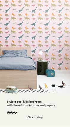 Revitalise your child's bedroom with this stylish Pink Dinosaur Pattern Wallpaper, a cool children's print that will impress. Dinosaur Wallpaper, Kids Wallpaper, Pattern Wallpaper, Dinosaur Pattern, Dinosaur Design, Bedroom Wall, Bedroom Ideas, Bedroom Decor, Cool Dinosaurs