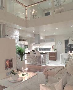 Try To Decorating With Luxury White Living Room Design 01 - Home Decor Design Dream Home Design, Modern House Design, Luxury Kitchen Design, Interior Design Living Room, Living Room Designs, Modern Interior, Modern Luxury, Kitchen Interior, Kitchen Decor