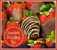 Tips for perfectly drizzled chocolate strawberries. They are much easier to do than you might think.  Get my tips http://thegardeningcook.com/perfectly-drizzled-chocolate/