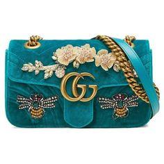 Women's Gucci Mini Gg Marmont Matelasse Velvet Shoulder Bag (€3.215) ❤ liked on Polyvore featuring bags, handbags, shoulder bags, pivone, blue handbags, velvet purses, mini purse, shoulder bag purse and shopping bag