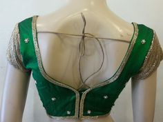 Awesome Green rawsilk handwork blouse.-Clothing- INTRIGUE