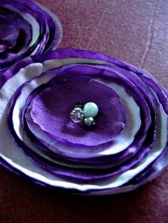2 purple flowers  fabric flower brooch handmade by DooDesign, $8.99