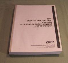 Typed 2011 Greater Philadelphia Chapter High School Essay Contest Judges Binder @eBay #ebay #GotPicks