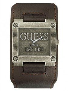 Guess Brown Leather Cuff Men's Antique Silver Men's Watch U95083G2 GUESS. $127.97