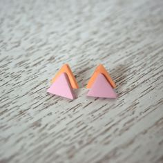 Pink and Coral Triangle Polymer Clay Stud Earrings by LittlestOven