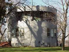 In Cass County, Michigan, a house like a broken-off turret from a medieval castle -- torn down in 2011.