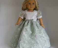 18 inch doll clothes,  Sage Green Silver and White Embroidered Flower Dress 06-0242 by thesewingshed on Etsy