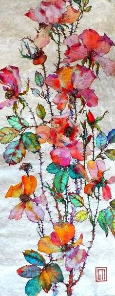 Long Roses - Sofia Perina Miller - Colorful rose watercolor - Chinoiserie