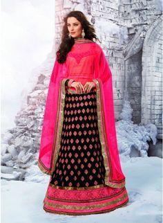 Gleaming Black Color Faux Georgette Bases #Lehenga #Choli #bridallehenga #ethnicwear #womenfashion #clothing #fashion