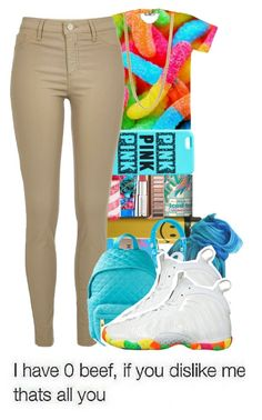 """""""today school outfit."""" by wma0411 ❤ liked on Polyvore featuring Arizona, Givenchy, Pink Sugar, HUF, River Island, Marc by Marc Jacobs, Beats by Dr. Dre, Moschino, NIKE and women's clothing"""