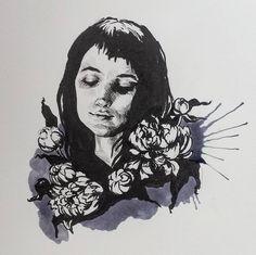 """INKTOBER ● Day I """"I myself am strange and unusual"""" Winona Ryder in Beetlejuice. #winonaforever . . . #inktober #inktoberday1 #inktober2016 #ink #pen #pentelbrushpen #splash #winona #lydia #beetlejuice #timburton #portrait #october #halloween..."""