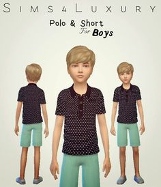 Sims4Luxury: Boys Polo & Shorts • Sims 4 Downloads