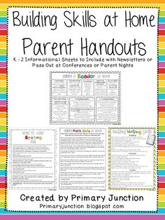 Classroom Freebies: Building Writing Skills At Home - Parent Handouts
