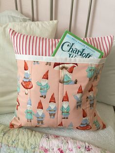 Gnome Sweet Gnome Book Pillow Quilted Pink Red Ticking Pillow Cover by ZeedleBeez on Etsy