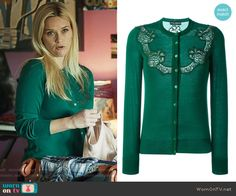 40aa7b48ac Madeline s green lace cardigan on Big Little Lies. Outfit Details  https