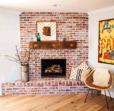 Red Brick Fireplace Ideas | Beautiful Fireplace Designs Brick Fireplace Mantles, Brick Fireplace Remodel, Exposed Brick Fireplaces, Brick Fireplace Makeover, Home Fireplace, Fireplace Design, Fireplace Ideas, Industrial Fireplaces, Brick Room