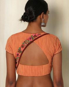 Buy Orange The Blouse Factory Handwoven Cotton Blouse with Embroidery gh Cotton Saree Blouse Designs, Simple Blouse Designs, Saree Blouse Patterns, Designer Blouse Patterns, Blouse Neck Designs, Blouse Styles, Choli Designs, Skirt Patterns, Coat Patterns