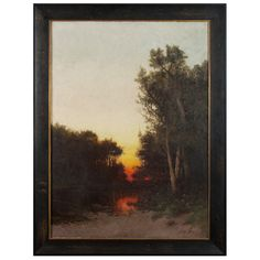 """""""Sunset On A Quiet Creek"""" Oil Painting By Julian Rix   From a unique collection of antique and modern paintings at http://www.1stdibs.com/furniture/wall-decorations/paintings/"""