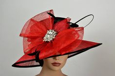 285cf0f2ea6 Black Red Derby Hat Sinamay Tea Woman Bridal Wedding Hat Church Kentucky Derby  Hat Bridal Coctail Hat Couture Bridal Hat