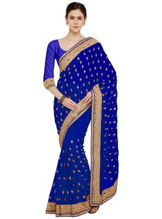 Blue Georgette Mirror Work Saree 80705