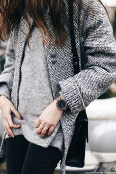 Grey tweed cocoon coat mohair sweater with Kapten and Son watch | Kapten-son.com