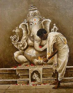 Shiva Art, Ganesha Art, Hindu Art, Sri Ganesh, Shiva Shakti, Ganesha Pictures, Ganesh Images, Indian Artwork, Indian Art Paintings