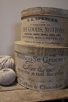 Advertising boxes ... could picture these under a narrow table in my foyer Vintage Antiques, Vintage Decor, Vintage Style, Cheese Boxes, Suitcases, Narrow Table, Tins, Shabby Style, Shabby Chic Stil