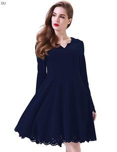 Aphratti Womens Scallop Stretchy Sleeve Cute Skater Dresses, Long Sweater Dress, Scalloped Dress, Long Bridesmaid Dresses, Party Gowns, Floral Maxi Dress, Casual Dresses For Women, Dress Collection, Fit And Flare
