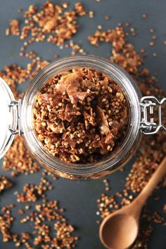 Coconut buckwheat granola that is not overly sweet but covered in cinnamon for a paleo, gluten free and vegan granola.
