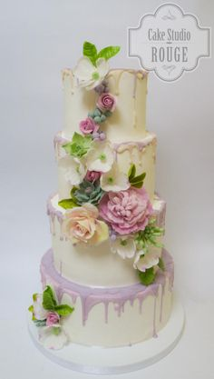 Flower wedding cake by Ceca79 - http://cakesdecor.com/cakes/217469-flower-wedding-cake