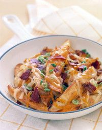 Nacho Potatoes - Serve these topped with your favorite salsa and a dollop of sour cream, just like traditional nachos. - It's like Martha does Jack's Bacon Cheddar Potato Wedges! I Love Food, Good Food, Yummy Food, Great Recipes, Dinner Recipes, Favorite Recipes, Dinner Ideas, Party Recipes, Appetizer Recipes