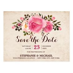 Pink Rustic Watercolor Floral Save The Date Postcard - floral style flower flowers stylish diy personalize