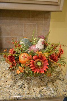 Fall Sunflower And Pumpkin Rooster Arrangement