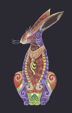 Totem Hare by Jenny Hawkyard on Strathmore 400 Series Artagain Black Paper