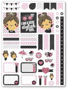 Audrey Decorating Kit / Weekly Spread Planner Stickers, pink, black, fashion, stickers, minibook, mb