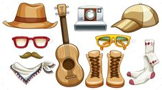 Hipster Items (JPG Image, Vector EPS, CS, attractive, boots, camera, cartoon, casual, character, collection, fashion, fashionable, freedom, glasses, group, hat, hipster, isolated, lifestyle, many, on white, personal, picture, scarf, series, set, style, traveler, trend, trendy, ukulele, white, white background)