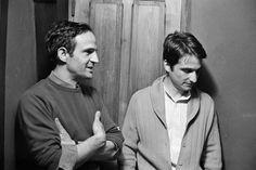 Jean-Pierre Léaud and François Truffaut on the set of Les deux Anglaises et le continent (1971)  (via)